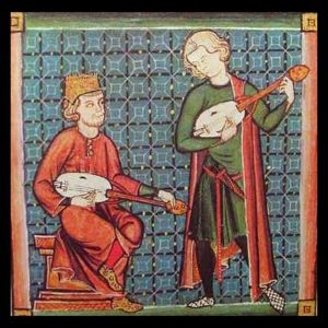 Two musicians from the Cantigas de Santa Maria